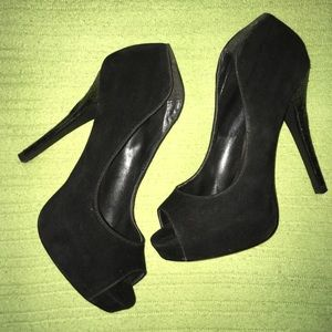 Shoes - Black peep toe heels